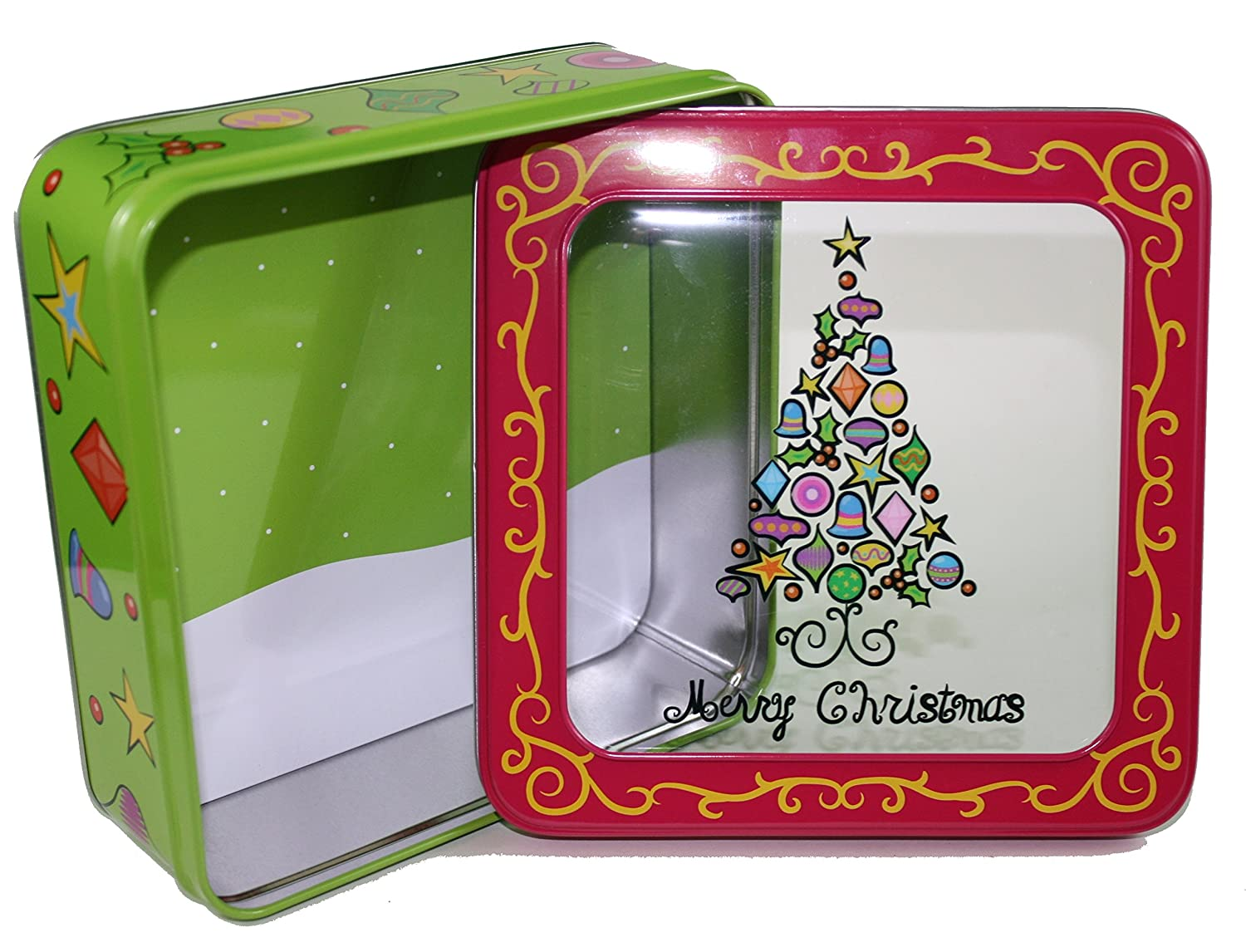Square Christmas Metal Gift Box with Window (Green)