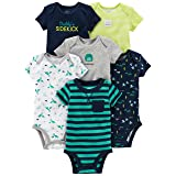 Simple Joys by Carter's Baby Boys 6-Pack Short-Sleeve Bodysuit, Navy/Turquoise, 0-3 Months (Color: Navy/Turquoise, Tamaño: 0-3 Months)