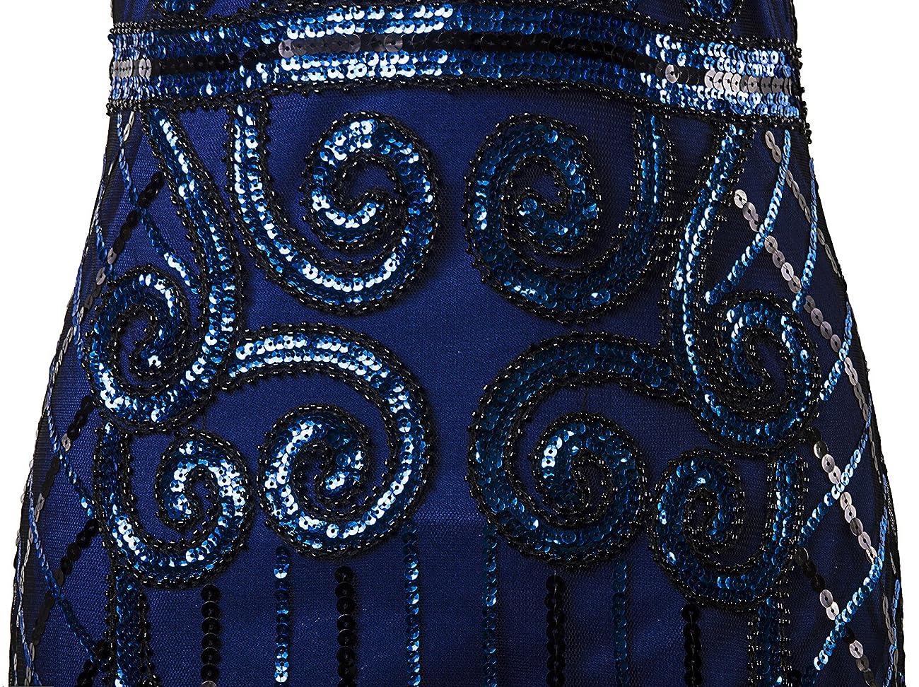 Vijiv 1920s Vintage Inspired Sequin Embellished Fringe Long Gatsby Flapper Dressblue 5