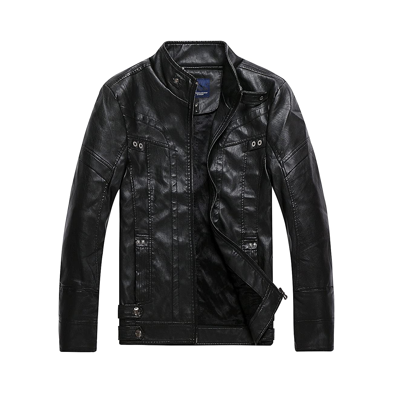 Men's Vintage Stand Collar Faux Leather Jacket 0