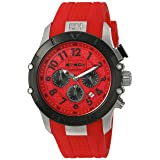 BTECH Quartz Stainless Steel and Silicone Watch, Color:Red (Model: BT-IM-312-03) (Color: red)