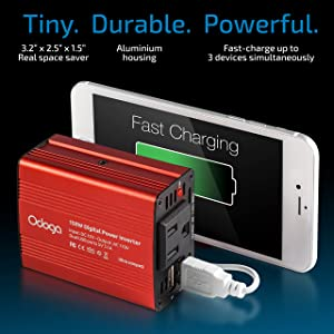 Odoga 150W Car Power Inverter DC 12V to 110V AC Car Adapter ~ Dual USB Ports ~ Charge Your Electronics On The Go