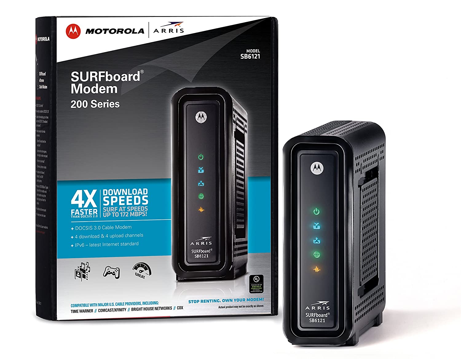 ARRIS SURFboard SB6121 DOCSIS 3.0 Cable Modem (Black,Retail Packaging)