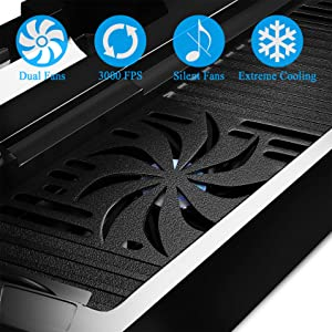 ADVcer PS4 Vertical Cooler Charger Stand - Dual Cooling Fan, Dual Gamepad Charging Station and 3 Extra USB Port HUB + 8 Thumb Grip Cover for Sony PS4 DualShock 4 Controller and Playstation 4 Console