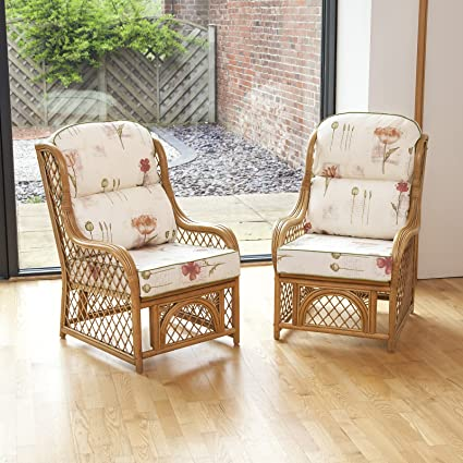 Alfresia 2 Cadiz Cane and Diamond Lattice Conservatory Armchairs including Luxury Cushions (Poppies Stone)