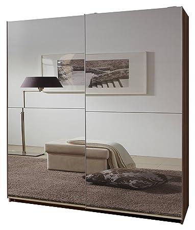 Wimex 060773 Schwebeturenschrank 198 x 135 x 64 cm, Französisch-Nußbaum-Nachbildung, Front vollverspiegelt