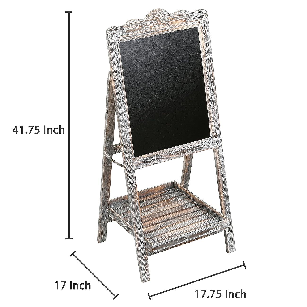 MyGift Torched Wood Chalkboard Easel, Freestanding Vintage Sign Blackboard, Brown 4