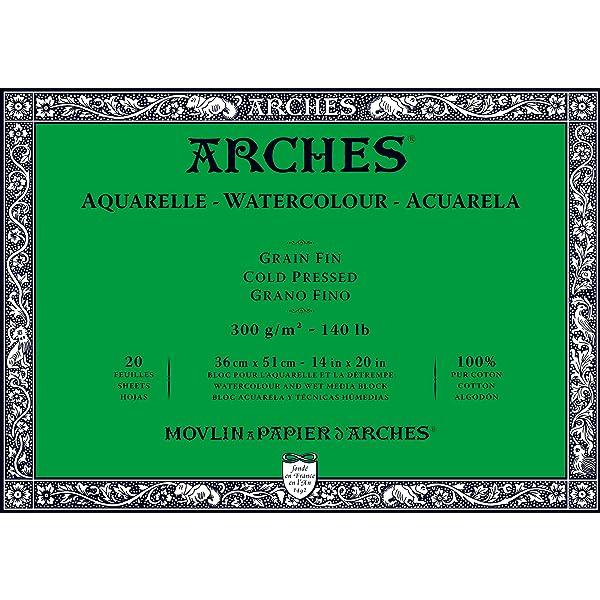 Arches Watercolor Paper Block, Cold Press, 14 x 20, 140 pound (Tamaño: 14x20)