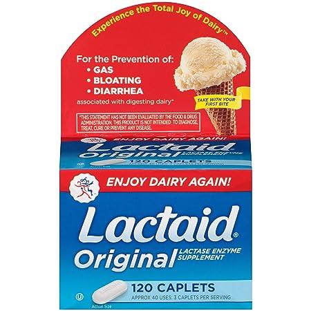 Lactaid Caplets, Lactase Enzyme Supplement, 120-Count Box at amazon