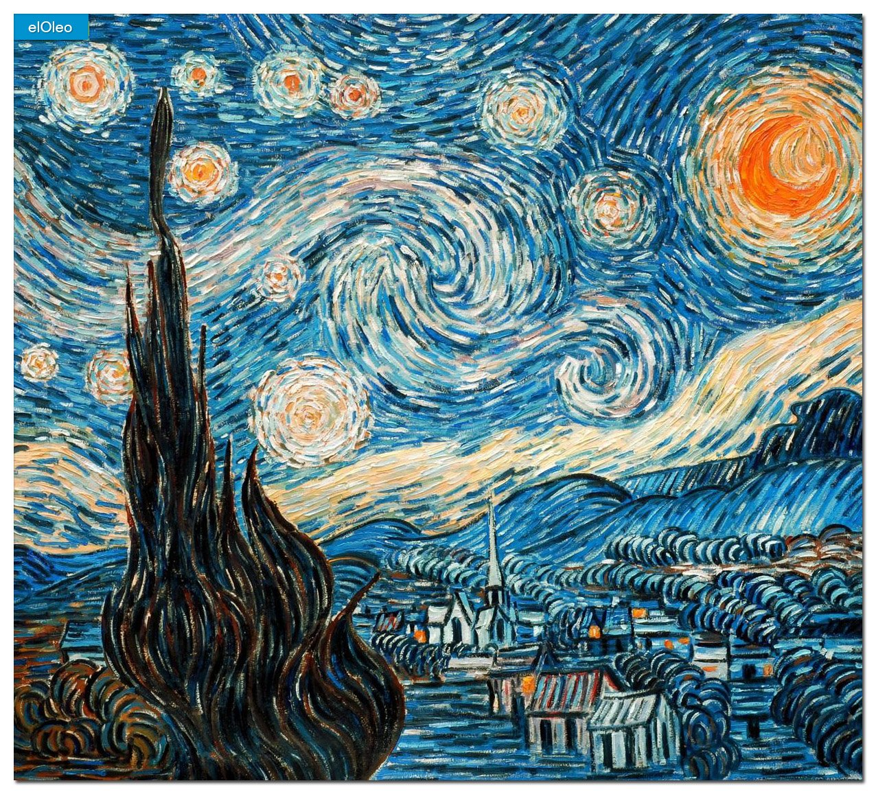 elOleo Vincent van Gogh – Sternennacht 65×70 Gemälde auf Leinwand handgemalt 83631A – in Museumsqualität online kaufen