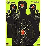 Splatterburst Targets - 18 x 24 inch - Triple Silhouette Reactive Shooting Target - Shots Burst Bright Fluorescent Yellow Upon Impact - Gun - Rifle - Pistol - Airsoft - BB Gun - Air Rifle (10 Pack) (Tamaño: 10 Pack)