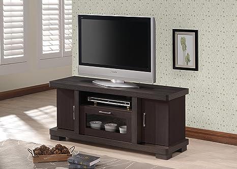 "Wholesale Interiors Baxton Studio Viveka Dark Brown Wood TV Cabinet with 2 Doors, 47"""