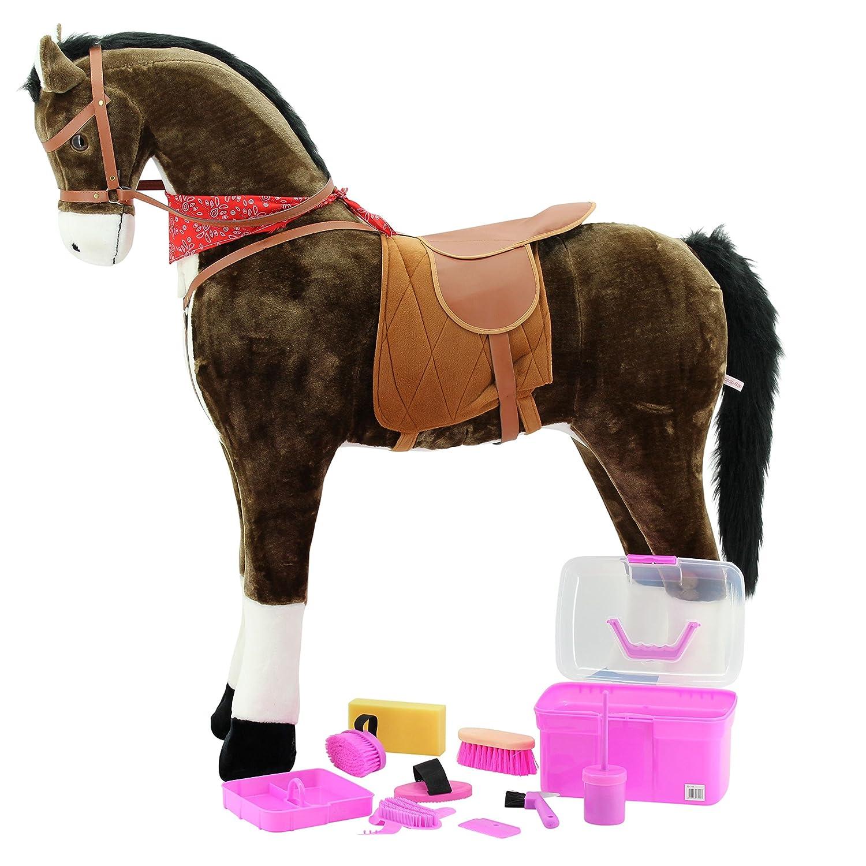 XXL Pferd Chocolate Jumbo Riesen Stehpferd & Putzbox PINK Kerbl für Pferde 8 tlg. Für Kinder, Giant Pferd,Mr.Chocolate, Sweety-Toys,Reiten, Riesen Pferd Farbe chocolate-sehr edel- mit dunkler Mähne und dunklem Schweif Steckenpferd günstig bestellen