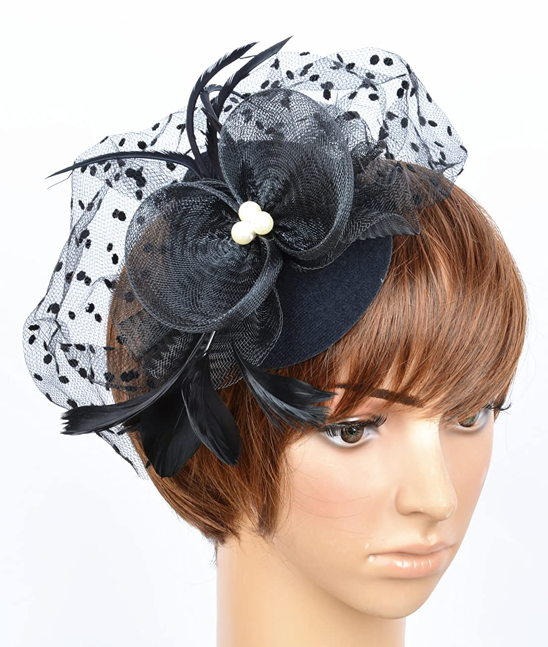 Fascinator on Hairclip for Women Mesh Feather 3