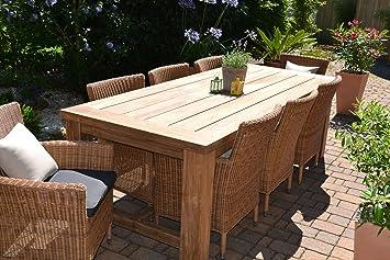Teak Sitzgruppe Garten Garnitur Tisch 240x100 Und 8 Sessel