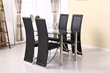 MODERNIQUE® Glass Dining Table and 4 Chairs set, Table size 120 or 80 cm with faux leather thick foam padded Chairs with Black or chrome frame chairs. (120x70, Chrome chair frame)