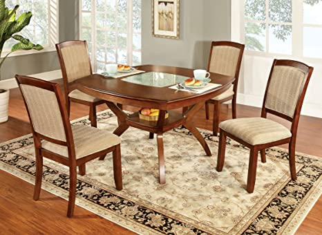 Furniture of America Orialla 5-Piece Dining Table Set with Glass Insert, Oak Finish