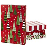Hallmark Christmas Gift Box Assortment - Pack of 12 Patterned Shirt Boxes with Lids for Wrapping Gifts (Color: Designed, 12 Pack, Tamaño: 14.25
