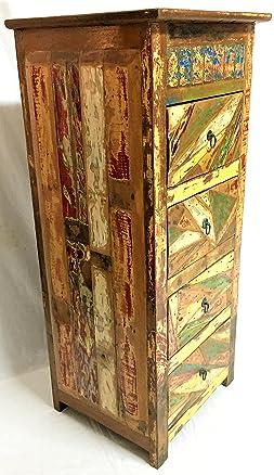Cassettiera Vintage in legno Teak Massello riciclato da Imbarcazioni Indonesiane Madia Arredamento Etnico Porta Tv mobile Antico