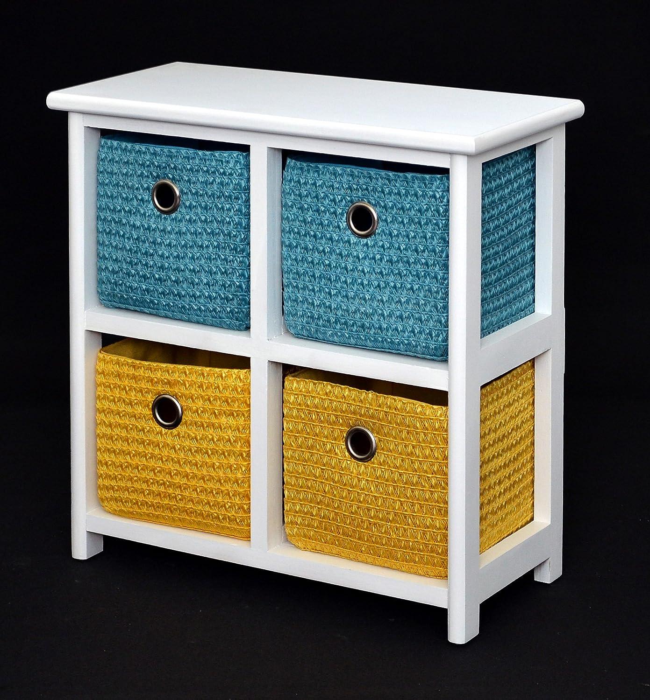 Kommode Nachttisch Schrank 42 cm Höhe Bad Regal Weiß mit 2 x 2 bunte Körbe für Kinderzimmer, Büro, Bad, Flur und Babyzimmer günstig kaufen