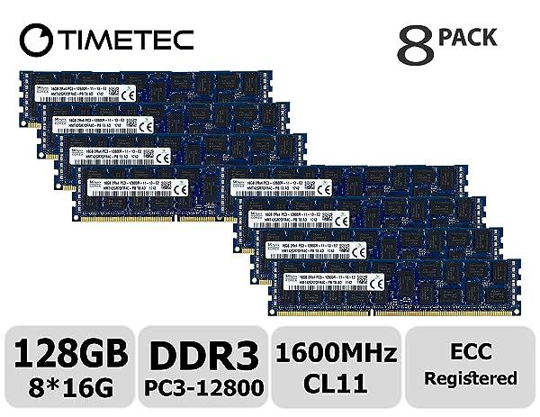 Timetec Hynix Original 128GB Kit (8x16GB) DDR3 1600MHz PC3-12800 Registered ECC 1.5V CL11 2Rx4 Dual Rank 240 Pin RDIMM Server Memory RAM Module Upgrade (128GB Kit (8x16GB)) (Tamaño: 128GB KIT(8x16GB))