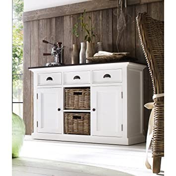 HALIFAX White Mahogany Buffet, Dresser or Sideboard, 3 drawers and 2 doors and and 2 shelves with wicker baskets, distressed finish (WHITE/BLACK TOP DISTRESSED)