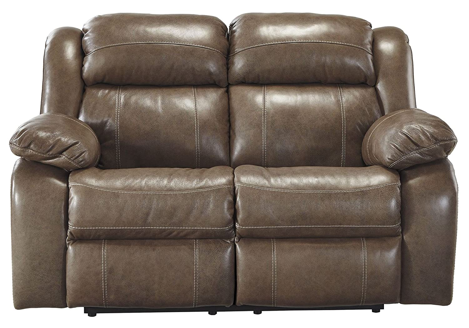 Ashley Branton Leather Power Reclining Loveseat in Quarry