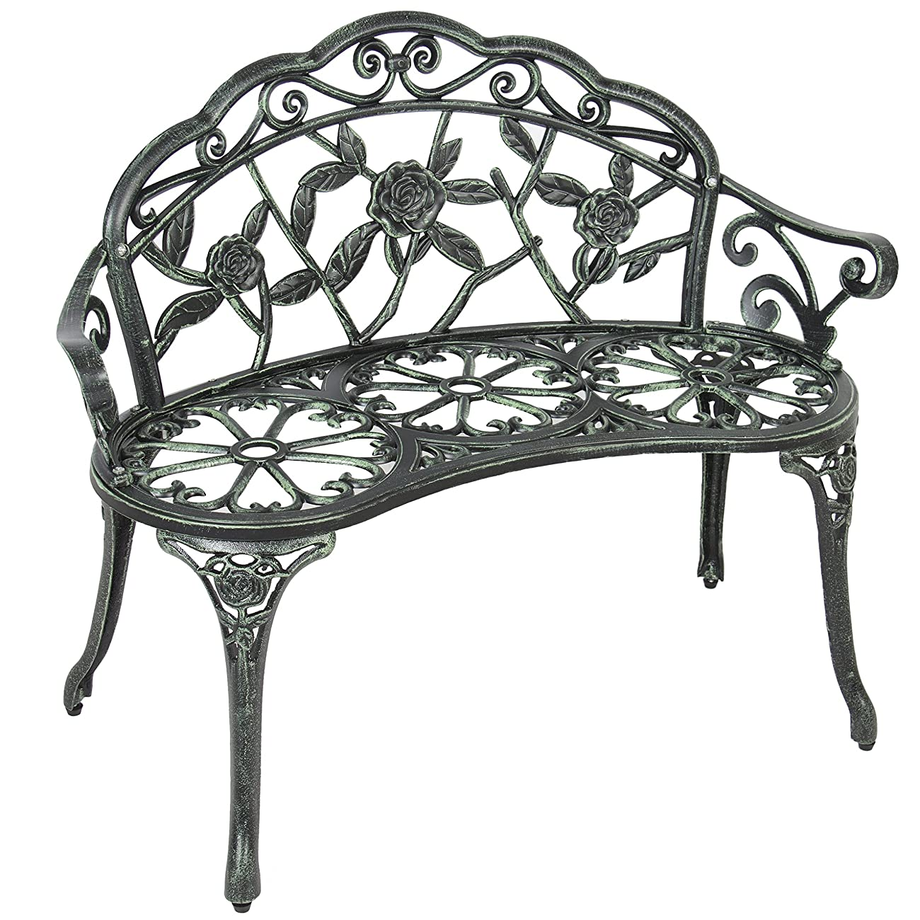 Best Choice Products BCP Outdoor Patio Garden Bench Cast Iron Antique Rose Backyard Porch Furniture 1