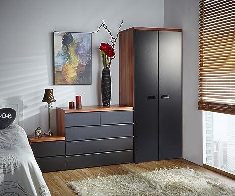 MMT California Black Walnut 3 piece bedroom furniture set
