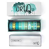 Washi Tape Set [10 rolls] - 330 Feet Long - Acrylic Organizer and Dispenser Box - Decorative Washi Tapes - Colorful Craft Tape - Adhesive Decor Masking Tape with Gift Box by ArtQ - Turquoise (Color: Turquoise (with Giftbox and Acrylic Organizer))