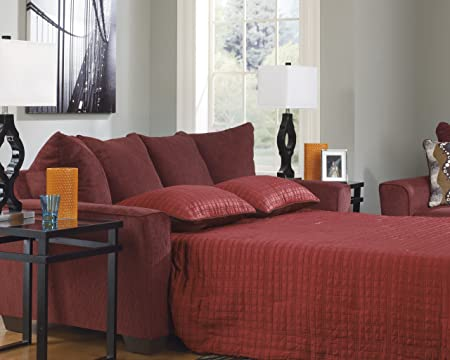 Brogain Burgundy Chenille Fabric Upholstered Contemporary Queen Sleeper Sofa