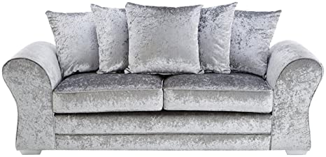 FurnitureStopUK -  Venus 3 Seater Sofa Crushed Velvet, Silver, Wood