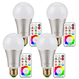 RGB LED Bulbs with Remote Controller, Lumenbasic RGBW Color Change Light Bulbs 10 Watts Dimmable E26 120 Color LED Bulb (Color: Bright White With Multi-color Function)