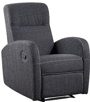 Sillón relax reclinable automático de salón comedor. Tapizado de tela color gris marengo. 77x70cm