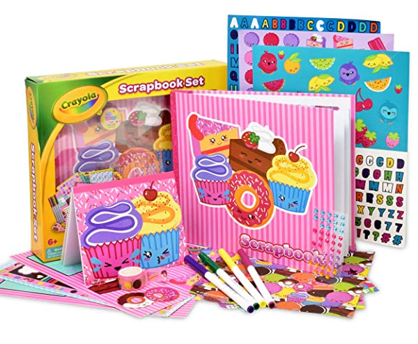 Crayola Scrapbook Activity Craft Kit, Mess Free Journal Set for Kids, Drawing Art Supplies Included Scrapbook, Pattern Sheets, Cut Outs, Gem Stickers, Sequins, Washable Markers and Tape