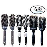 Hairbrush Set (6 Pcs), Round Ceramic Ionic Nano Technology Hair Brushes by Better Beauty Products, 1in to 2.5in (25/32/32/43/53/65mm) Barrel, 3 Bristle Styles/Color Combos, Professional Salon Brushes
