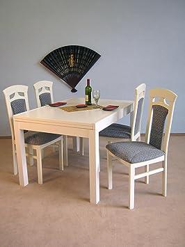 moebel direkt online Tischgruppe 5-teilig weiß / Bezug: Jaquardstoff anthrazit