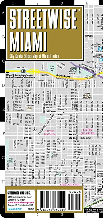 Streetwise Miami Map - Laminated City Center Street Map of Miami, Florida - Folding pocket size travel map with metrorail