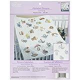 Bucilla Stamped Cross Stitch Baby Quilt Top, 34 by 43-Inch, 43241 Alphabet Dreams