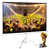 Cloud Mountain 100 Inch 16:9 Projector Screen with Stand Portable Indoor Outdoor Pull Up Tripod Stand Projection Screen for Home Theater Office School (Adjustable Aspect Ratio, 1.1 Gain, Matte White) (Color: Tripod Stand Screen, Tamaño: 100