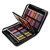 YOUSHARES 180 Slots PU Leather Colored Pencil Case - Large Capacity Carrying Case for Prismacolor Watercolor Pencils, Crayola Colored Pencils, Marco Pens, Gel Pens(Black) (Color: Black)