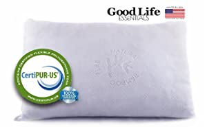 Shredded Memory Foam Pillow with Stay Cool Bamboo Cover - for Back Stomach Side Sleeper