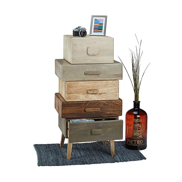 Native Home 10021167 Cassettiera Multicolore, Mobiletto a Cassetti in Legno di Mango, Armadietto 5 Scomparti, HLP: ca 110 x 57 x 45 cm