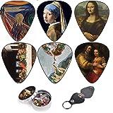Cool Guitar Picks By Art Tribute, Renaissance art Leonardo da Vinci Guitar Picks, Medium 12 Pack Themed Picks Celluloid, Keychain Pick Holder Included, Premium Gift Set For Guitar Player (Color: Renaissance Art)
