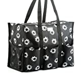 Pursetti Zip-Top Organizing Utility Tote Bag with Multiple Exterior & Interior Pockets for Working Women, Nurses, Teachers and Soccer Moms(Black Daisy_Large)