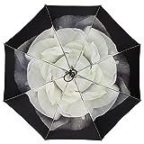 gusuqing Auto Open & Close Cute Travel Umbrella Auto Foldable Rain Windproof Anti-UV Flower Umbrella for Easy Carrying Auto Gardenia (Color: Auto Gardenia)
