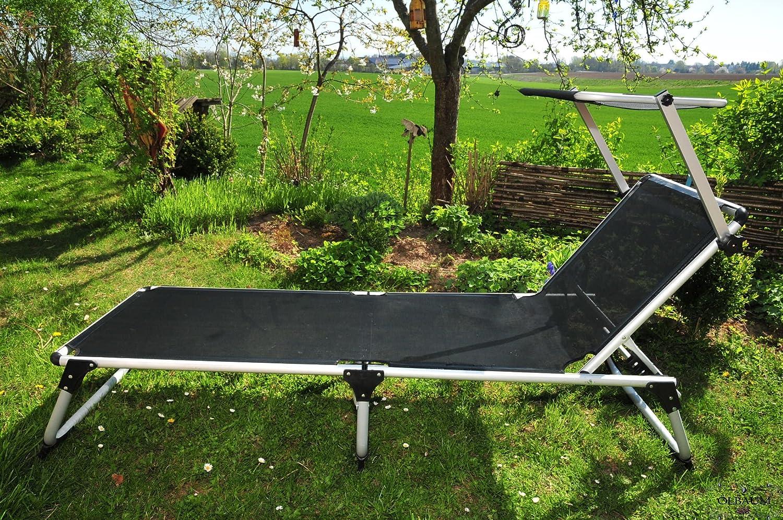 sonnenliege mit sonnendach dach premium relaxliege gartenliege extrem wetterfest klappbar. Black Bedroom Furniture Sets. Home Design Ideas