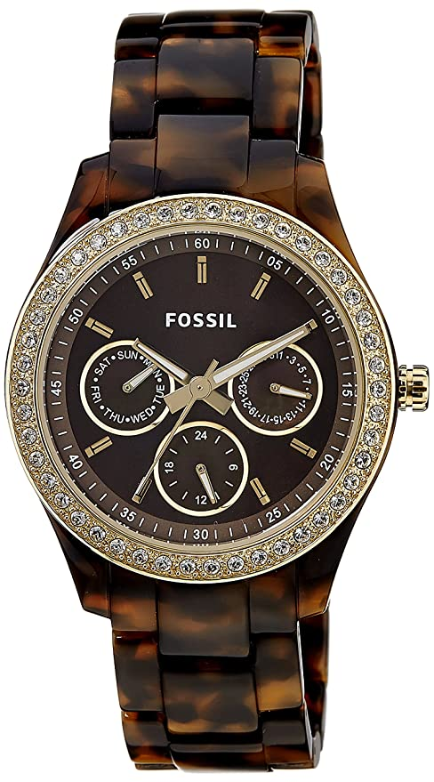 Fossil Women's ES2795 Stella Tortoiseshell-Tone Resin Watch with Link Bracelet: Fossil: Clothing