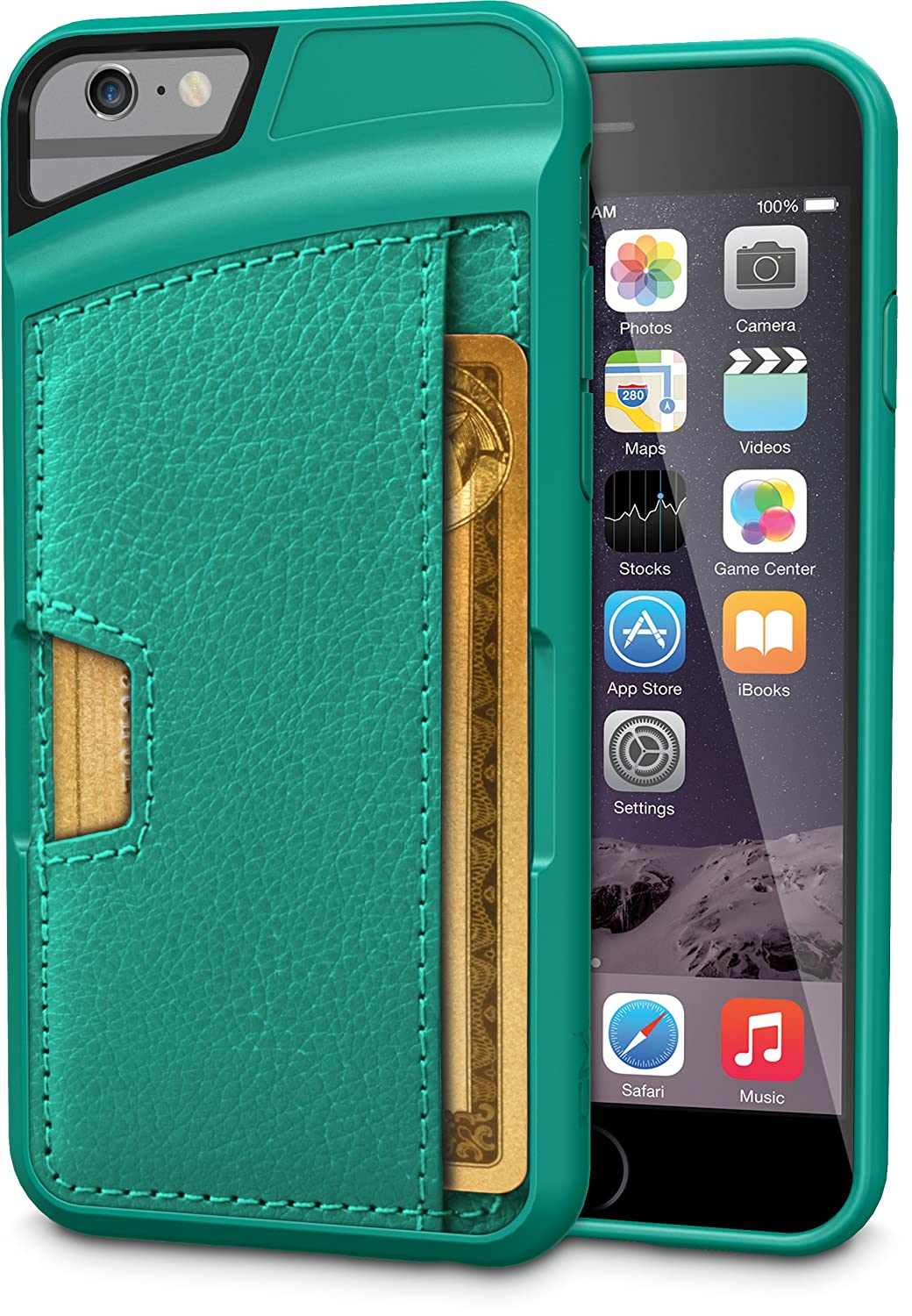 iPhone 6 Wallet Case - Q Card Case for iPhone 6 (4.7 inches) by CM4 - Ultra Slim Protective Carrying Case (Pacific Green)
