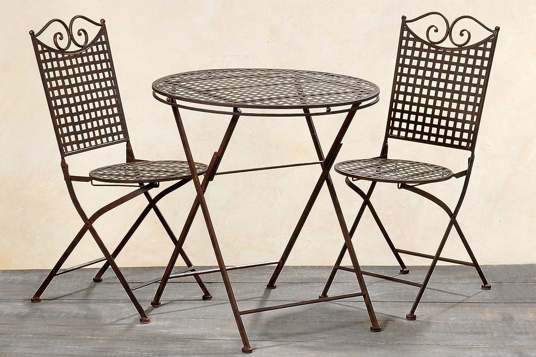 Tisch Set Lina aus Metall ein Tisch + zwei Stühle für Außen geeignet Farbe braun